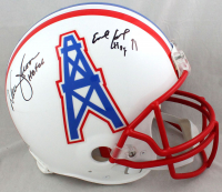 """Warren Moon & Earl Campbell Signed Oilers Full-Size Authentic On-Field Throwback Helmet Inscribed """"HOF 91"""" & """"HOF 06"""" (Beckett COA) at PristineAuction.com"""