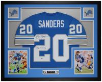 "Barry Sanders Signed 35x43 Custom Framed Jersey Inscribed ""The Lion King"" (Fanatics Hologram) at PristineAuction.com"