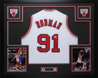 Dennis Rodman Signed 35x43 Custom Framed Jersey (JSA COA) at PristineAuction.com