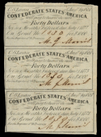 Uncut Sheet of (3) 1861 Confederate States of America Richmond CSA $40 Forty Dollar Bond Coupons at PristineAuction.com