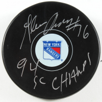 "Glenn Anderson Signed Rangers Logo Hockey Puck Inscribed ""94 SC Champs!"" (PSA COA) at PristineAuction.com"