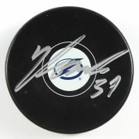 Yanni Gourde Signed Lightning Logo Hockey Puck (PSA COA) at PristineAuction.com