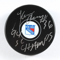 """Glenn Anderson Signed Rangers Logo Hockey Puck Inscribed """"94 SC Champs!"""" (PSA COA) at PristineAuction.com"""