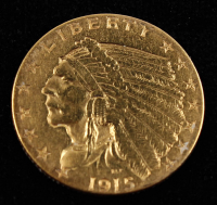 1915 American Gold Eagle $5 Five Dollar Gold Coin at PristineAuction.com