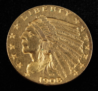 1908 American Gold Eagle $5 Five Dollar Gold Coin at PristineAuction.com