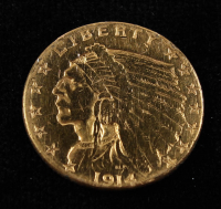 1914 American Gold Eagle $5 Five Dollar Gold Coin at PristineAuction.com