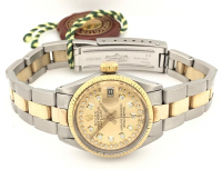 Rolex Diamond Oyster Perpetual DateJust 18kt Yellow Gold Women's Wristwatch with Box, Tag, & Papers at PristineAuction.com