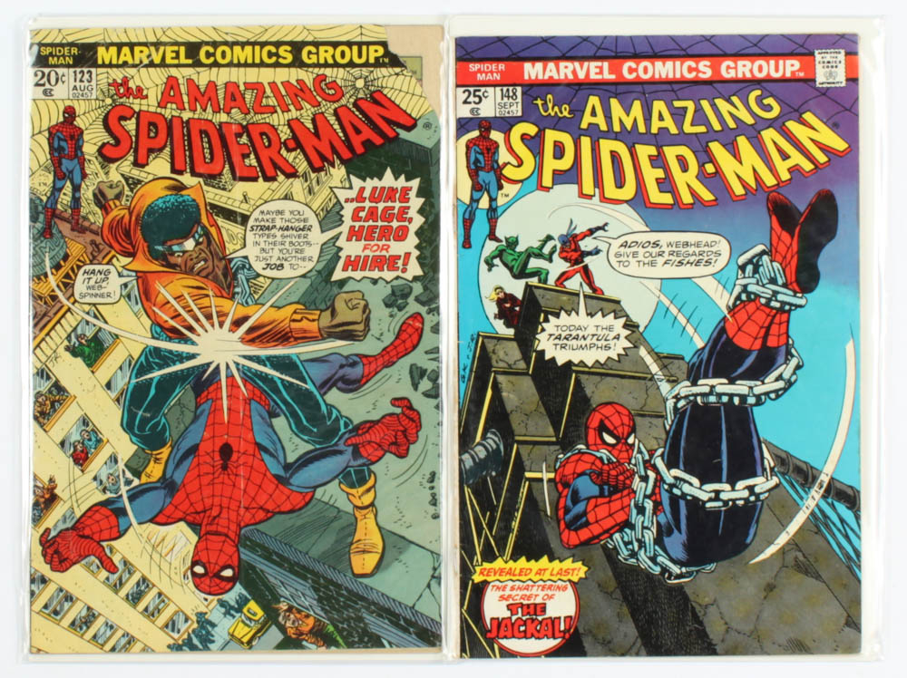 """Lot of (2) """"The Amazing Spider-Man"""" Marvel Comic Books with 1973 #123 & 1975 #148 at PristineAuction.com"""