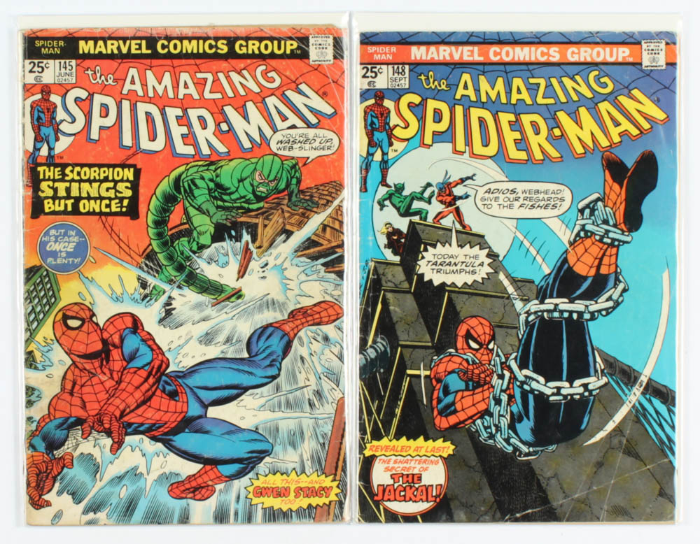 "Lot of (2) 1975 ""The Amazing Spider-Man"" Marvel Comic Books with #145 & #148 at PristineAuction.com"