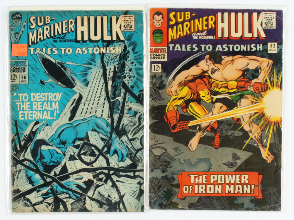 """Lot of (2) """"Tales To Astonish"""" Marvel Comic Books with 1966 #82 & 1967 #98 at PristineAuction.com"""