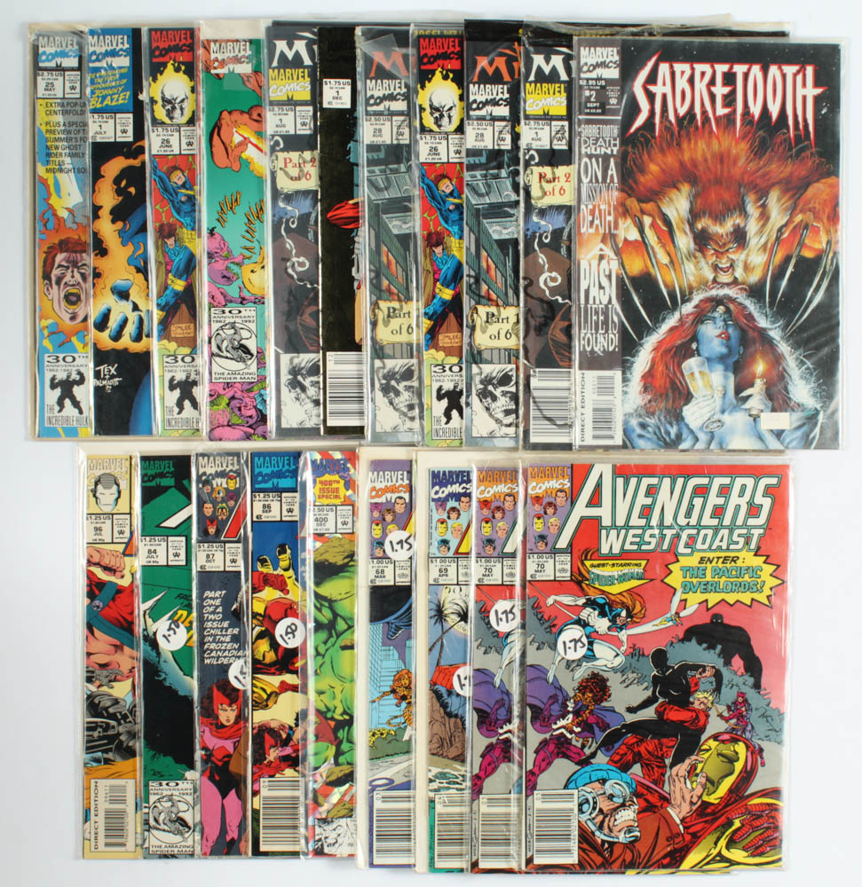 Lot of (20) Marvel Comic Books with The Incredible Hulk, Avengers West Coast, Ghost Rider, Sabretooth at PristineAuction.com