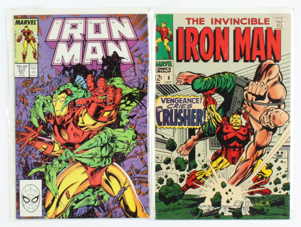 """Lot of (2) """"Iron Man"""" Marvel Comic Books with 1968 #6 & 1988 #237 at PristineAuction.com"""
