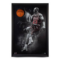 "Michael Jordan Signed Bulls ""No Look"" 40x60 Custom Framed LE Breaking Through Display (UDA COA) at PristineAuction.com"