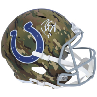 Peyton Manning Signed Colts Full-Size Camo Speed Helmet (Fanatics Hologram) at PristineAuction.com