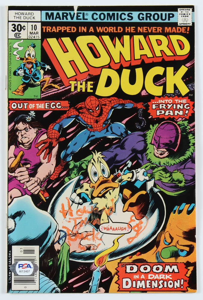 """Ed Gale Signed 1977 """"Howard The Duck"""" Issue #10 Marvel Comic Book Inscribed """"Howard T. Duck"""" (PSA Hologram) at PristineAuction.com"""