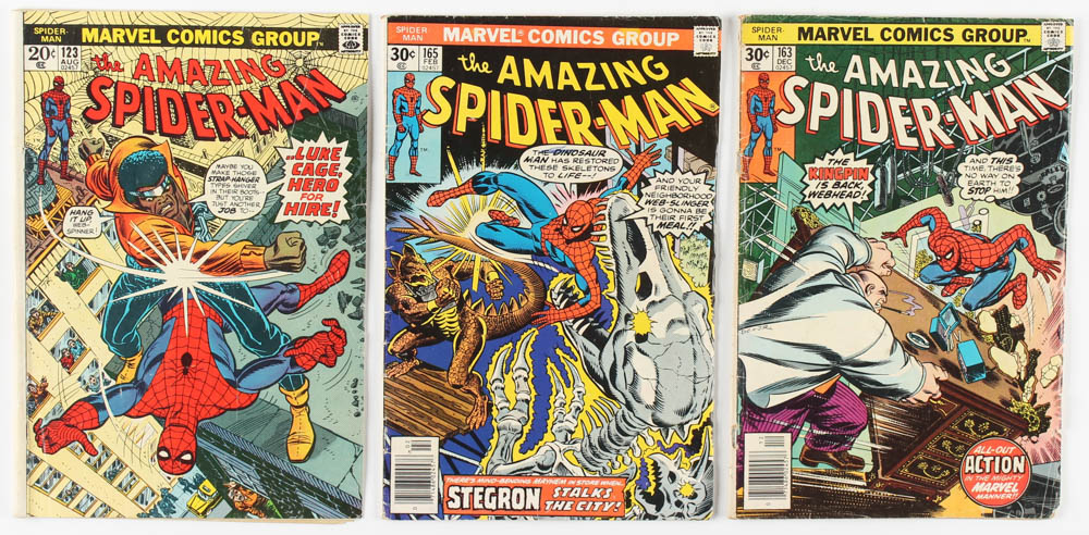 "Lot of (3) 1973-1977 ""The Amazing Spider-Man"" Marvel Comic Books with #123, #163 & #165 at PristineAuction.com"