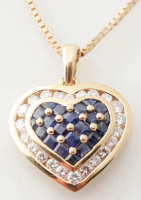 14K Yellow Gold Diamond & Sapphire Necklace at PristineAuction.com