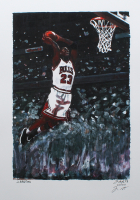 Michael Jordan - Bulls - Joshua Barton 12x18 Signed Limited Edition Lithograph #/250 (PA COA) at PristineAuction.com