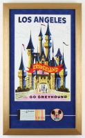 """Disneyland """"Go Greyhound"""" 15x25 Custom Framed Poster Display with Vintage Ticket Book & Holographic Pin at PristineAuction.com"""