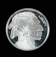 Buffalo / Indian Head .999 One Troy Ounce Fine Silver Bullion Round at PristineAuction.com