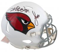 "Kurt Warner & Larry Fitzgerald Signed Cardinals Full Size Authentic On-Field Speed Helmet Inscribed ""HOF 17"" (Beckett COA) at PristineAuction.com"