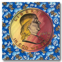 """Steve Kaufman Signed """"1962 Liberty Coin"""" Limited Edition 22x24 Hand Pulled Silkscreen Mixed Media at PristineAuction.com"""