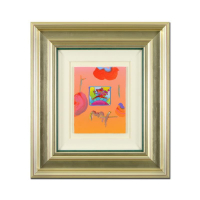 "Peter Max Signed ""Flower Jumper Over Sunrise"" 22x25 Custom Framed One-Of-A-Kind Acrylic Mixed Media at PristineAuction.com"