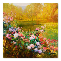 """Ming Feng Signed """"Fragrant Garden"""" 30x30 Original Oil Painting on Canvas at PristineAuction.com"""