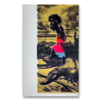 """Steve Kaufman Signed """"David and Goliath Gold"""" Limited Edition 27x17 Hand Pulled Silkscreen Mixed Media on Canvas at PristineAuction.com"""