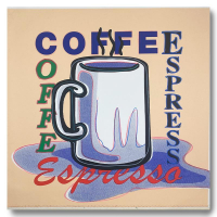 """Steve Kaufman Signed """"ESPRESSO"""" Limited Edition 25x26 Hand Pulled Silkscreen Mixed Media on Canvas at PristineAuction.com"""