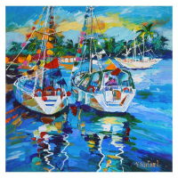 "Yana Rafael Signed ""Island Sailing Vacation"" 24x24 Original Painting on Canvas at PristineAuction.com"