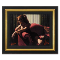"""Fabian Perez Signed """"Rojo Sillon III 2nd St"""" Hand Textured Limited Edition 20x23 Custom Framed Giclee on Board. at PristineAuction.com"""
