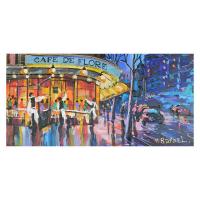 "Yana Rafael Signed ""Waiting at the Café de Flore"" 12x24 Original Painting on Canvas at PristineAuction.com"