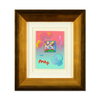 "Peter Max Signed ""Cosmic Runner"" 21x23 Custom Framed One-Of-A-Kind Acrylic Mixed Media at PristineAuction.com"