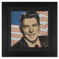 """Ringo Signed """"Ronald Reagan and Flag"""" 20x20 Custom Framed One-of-a-Kind Mixed Media Painting on Canvas at PristineAuction.com"""