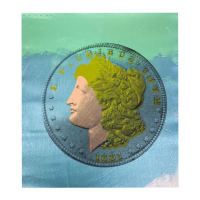 """Steve Kaufman Signed """"1881 Coin"""" Limited Edition 15x14 Hand Pulled Silkscreen Mixed Media on Canvas at PristineAuction.com"""