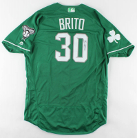 Socrates Brito Signed Game-Used Diamondbacks Jersey (MLB Hologram) at PristineAuction.com