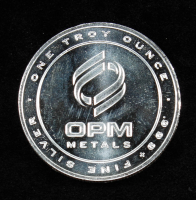 """""""OPM Metals"""" One Troy Ounce .999 Fine Silver Bullion Round at PristineAuction.com"""