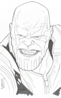 "Tom Hodges - Thanos - Marvel Comics - Signed ORIGINAL 5.5"" x 8.5"" Drawing on Paper (1/1) at PristineAuction.com"