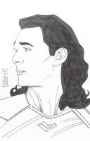 "Tom Hodges - Loki - ""Thor"" - Marvel Comics - Signed ORIGINAL 5.5"" x 8.5"" Drawing on Paper (1/1) at PristineAuction.com"