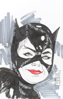 """Tom Hodges - Catwoman - Michelle Pfeiffer - DC Comics - Signed ORIGINAL 5.5"""" x 8.5"""" Drawing on Paper (1/1) at PristineAuction.com"""