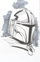 """Tom Hodges - The Mandalorian - """"Star Wars"""" - Signed ORIGINAL 5.5"""" x 8.5"""" Drawing on Paper (1/1) at PristineAuction.com"""