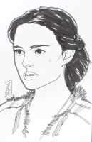 """Tom Hodges - Padme Amidala - """"Star Wars"""" - Signed ORIGINAL 5.5"""" x 8.5"""" Drawing on Paper (1/1) at PristineAuction.com"""
