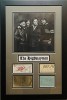 """The Highwaymen"" 16x24 Custom Framed Cut Display Signed by (4) with Johnny Cash, Waylon Jennings, Kris Kristofferson & Willie Nelson (JSA COA & PSA) at PristineAuction.com"