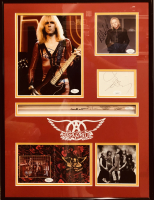 """Aerosmith"" 18x24 Custom Framed Photo & Drumstick Display Signed by (5) with Steven Tyler, Joe Perry, Tom Hamilton, Joey Kramer & Brad Whitford (JSA COA) at PristineAuction.com"