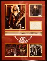 """Aerosmith"" 18x24 Custom Framed Photo & Drumstick Display Signed by (5) with Steven Tyler, Joe Perry, Tom Hamilton, Joey Kramer & Brad Whitford (JSA COA) at PristineAuction.com"