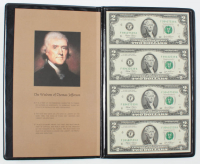 Uncut Sheet of (4) 2003 A $2 Two-Dollar Green Seal U.S. Federal Reserve Note Bills with Portfolio at PristineAuction.com