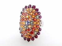 6.30ct Natural Multi-Colored Sapphire & Tanzanite Ring (GAL Certified) at PristineAuction.com