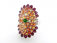 6.29ct Natural Multi-Colored Sapphire & Rhodolite Garnet Ring (GAL Certified) at PristineAuction.com