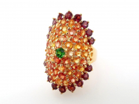 6.30ct Natural Multi-Colored Sapphire & Rhodolite Garnet Ring (GAL Certified) at PristineAuction.com